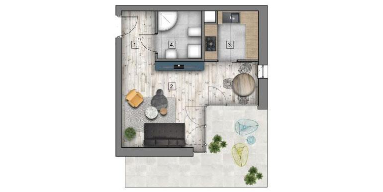 1 pokój &#8211; balkon &#8211; 30,73m<sup>2</sup>