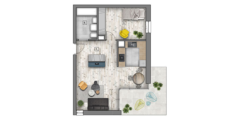 2 pokoje &#8211; balkon &#8211; 48,05m<sup>2</sup>