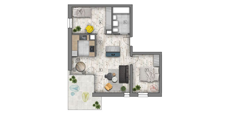 3 pokoje &#8211; balkon &#8211; 59,54m<sup>2</sup>