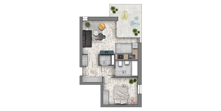 2 pokoje &#8211; balkon &#8211; 43,71m<sup>2</sup>