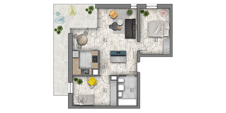 3 pokoje &#8211; balkon &#8211; 61,62m<sup>2</sup>