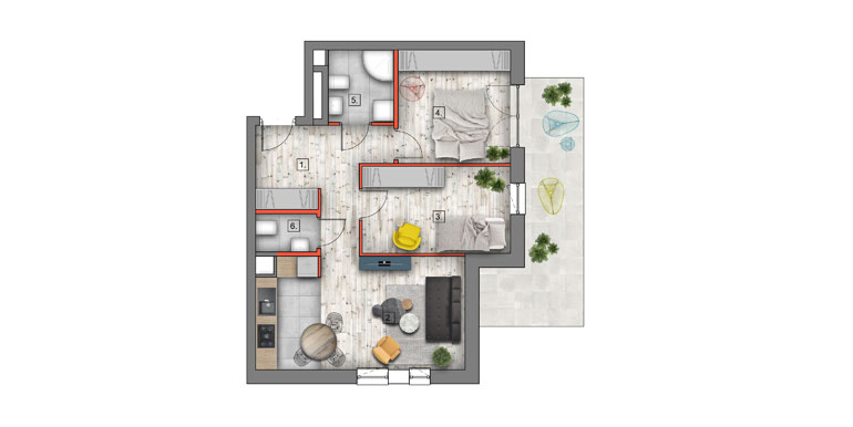 mieszkanie &#8211; 3 pokoje &#8211; balkon &#8211; 57,21m<sup>2</sup>