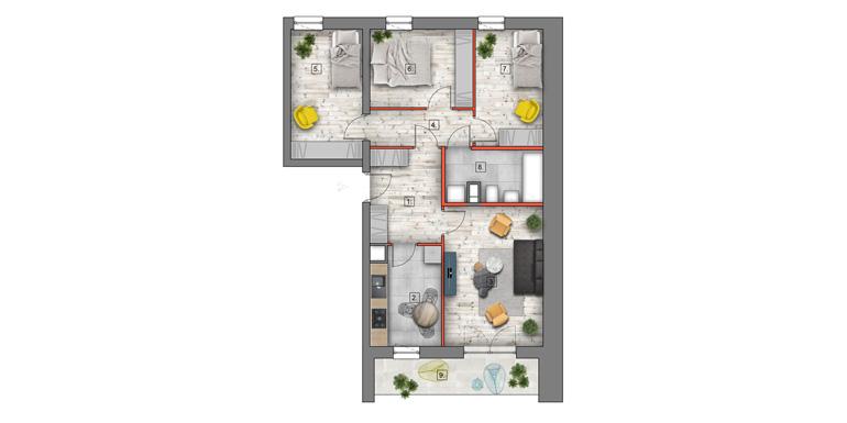 mieszkanie na sprzedaż lublin - B4/B5 M75
