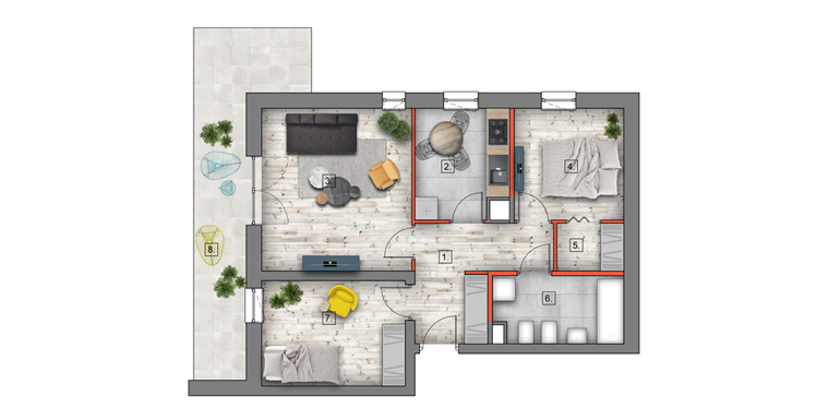 mieszkanie &#8211; 3 pokoje &#8211; garderoba &#8211; 59,33 m<sup>2</sup>