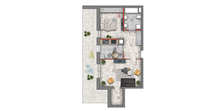 mieszkanie &#8211; 2 pokoje &#8211; balkon &#8211; 54,41 m<sup>2</sup>