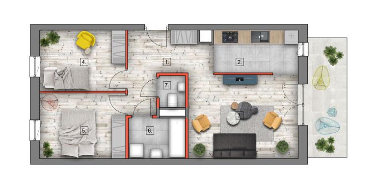 mieszkanie &#8211; 3 pokoje &#8211; balkon &#8211; 60,15 m<sup>2</sup>