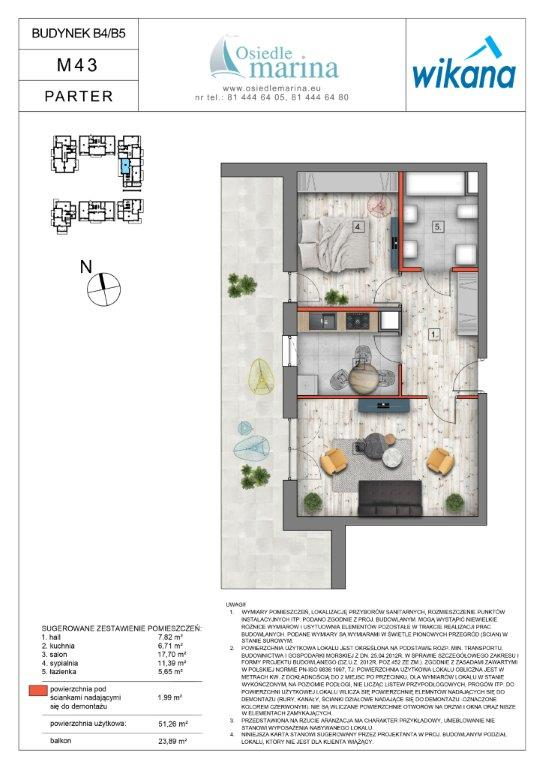mieszkanie – 2 pokoje – balkon – 51,26 m<sup>2</sup>